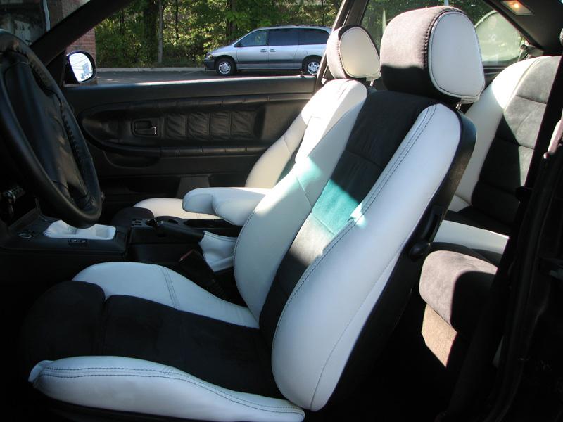 95 m3 white leather black suede interior